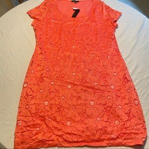 NWT Coral Pull on Dress XXL. Lace Overlay  $98